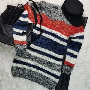 QED London S/M Space-dyed Stripes Longline Sweater